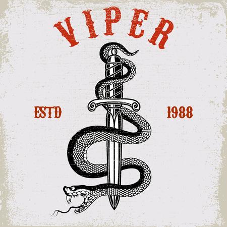 Snake on knife in tattoo style. Design element for t shirt, poster, card, emblem, sign. Vector illustration Illustration