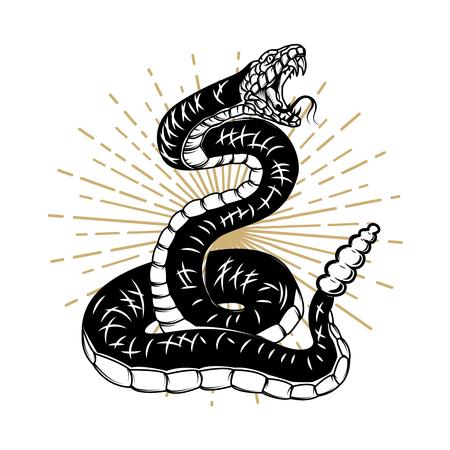 Ilustración de la serpiente aislada sobre fondo blanco. Elemento de diseño para póster, pancarta, camiseta. Ilustración vectorial
