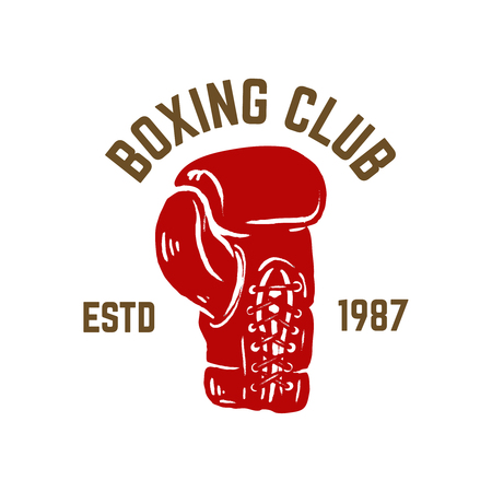 Champion boxing club. Emblem template with boxer glove. Design element for logo, label, emblem, sign. Vector illustration