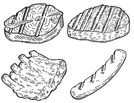 Set of hand drawn grilled meat. Grilled salmon, roasted steak, sausage, roasted ribs. Design elements for restaurant decoration, poster, banner, menu, flyer. Vector illustration Illustration