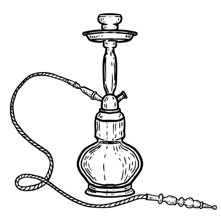 Hand drawn hookah illustration isolated on white background. Design element for logo, label, emblem, sign, poster, t shirt. Vector illustration