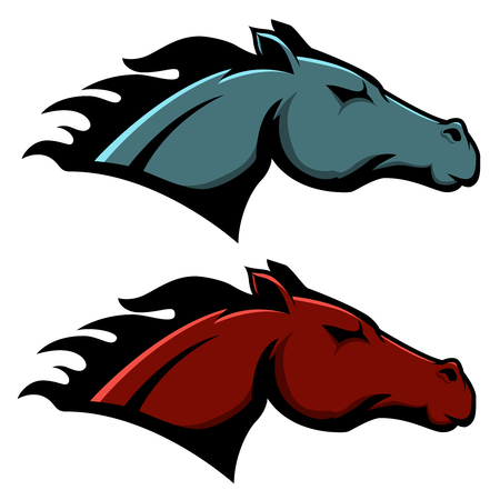 Horse head emblem template isolated on white background. Vector illustration