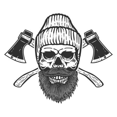 Lumberjack skull with crossed axes. Design element for emblem, sign, poster, t shirt. Vector illustration Ilustração