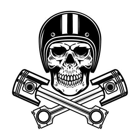 Skull in racer helmet with crossed pistons. Design element for logo, label, emblem, sign. Vector illustration