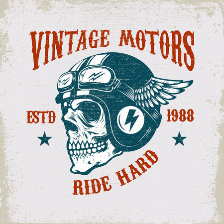 Vintage motors. Ride hard. Vintage racer skull in winged helmet illustration on grunge background. Design element for poster, emblem, sign, t shirt. Vector illustration