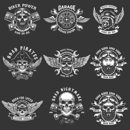 Set of biker club emblem templates. Vintage motorcycle labels. Design element for logo, label, emblem, sign. Vector illustration