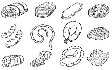 Set of hand drawn meat products illustrations.Sausages, bacon, lard, salmon, salami, steak, ribs. Design elements for poster, menu, flyer. Vector illustration