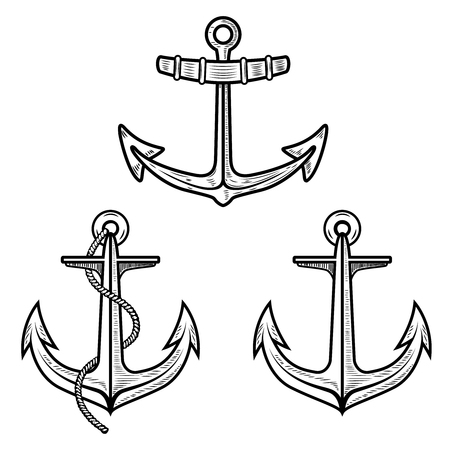 Set of anchors isolated on white background. Design element for poster, card, t shirt. Vector illustration Illusztráció