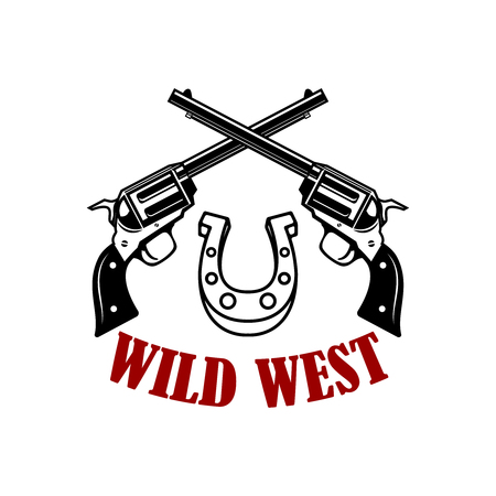 Wild west. Crossed revolvers on white background. Design element for poster, card, t shirt. Vector illustration