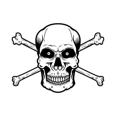 Skull with crossbones isolated on white background. Design element for poster, card, t shirt. Vector illustration