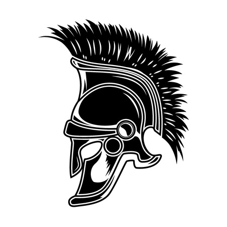 Spartan helmet isolated on white background. Design element for poster, card, t shirt. Vector illustration