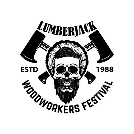 Lumberjack skull with crossed axes. Design element for emblem, sign, poster, t shirt. Vector illustration Illustration