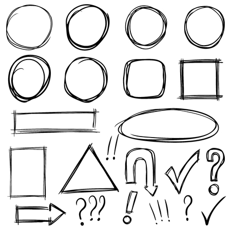 Set of hand drawn shapes and characters icons Illustration