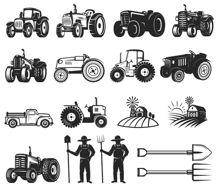 Set of farmers market design elements. Tractor icons.