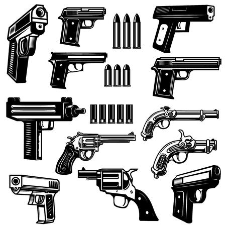 拳銃のアイコンのセット  イラスト・ベクター素材