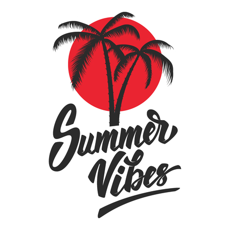 Summer vibes Lettering phrase with palm icon 免版税图像 - 99911390