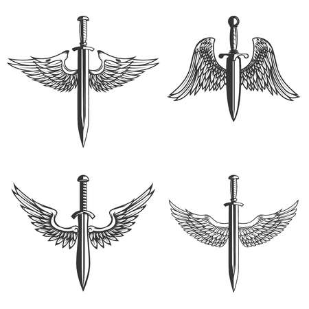 Set of emblems with medieval sword and wings Banque d'images - 99911391