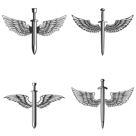 Set of emblems with medieval sword and wings Archivio Fotografico - 99911392