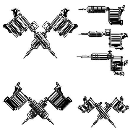 Set of tattoo machine icons Illusztráció