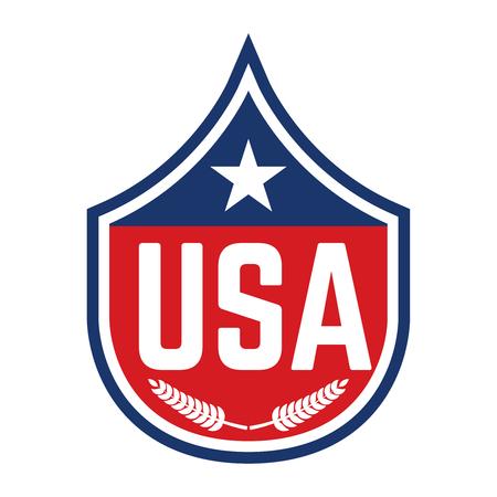 Emblem with usa symbol. Design element for poster, emblem, t shirt. Vector illustration Ilustrace