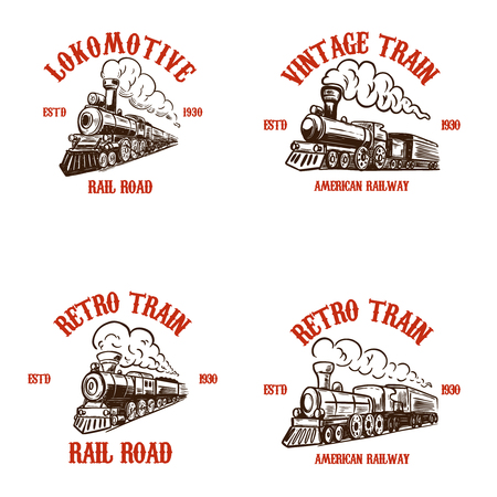 Set of emblem templates with hand drawn retro trains.