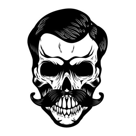 Skull with moustaches. Design element for poster, t shirt, card. Vector illustration Illustration