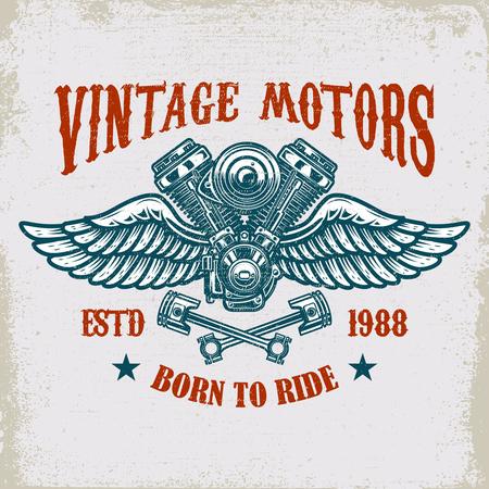 Conception de modèle de moteur ailé vintage