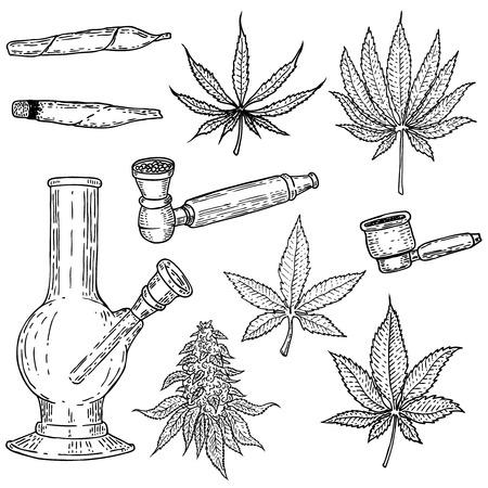 Set of hand drawn cannabis icons Stock Illustratie