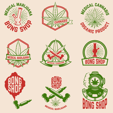 Set of vintage emblems with medical marijuana. Cannabis leaves. Design element for logo, label, emblem, sign, poster,  shirt. Vector illustration