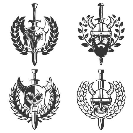 set of helmets with wreath and sword. Design element for logo, label, emblem, sign. Vector image Banque d'images - 100382380
