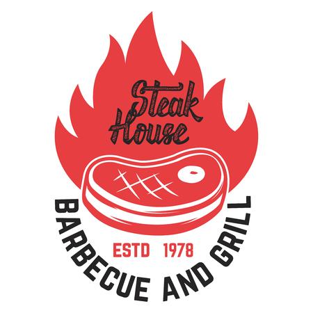 Steak house. Cut meat and crossed meat cleavers. Design element for logo, label, emblem. Vector illustration