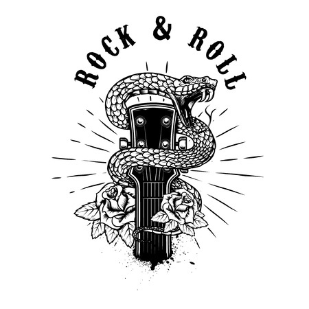 Rock and roll. Guitar head with snake and roses. Design element for poster, card, banner, emblem,  shirt. Vector illustration