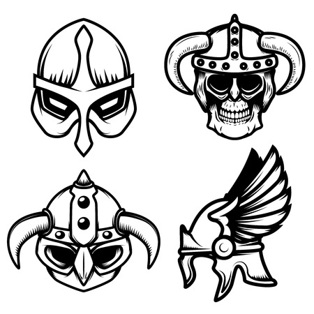 Set of viking helmets isolated on white background. Design element for logo, label,sign. Vector image