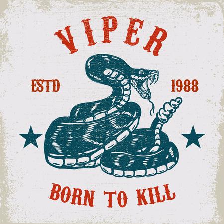 Viper snake illustration on grunge background. Design element for poster, card, shirt, emblem. Vector illustration