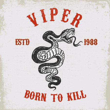 Viper snake illustration on grunge background. Design element for poster, card,  shirt, emblem. Vector image
