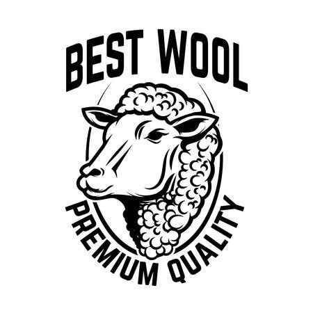 Sheep wool factory emblem template. Sheep head. Design element for logo, label, sign. Vector image Illustration