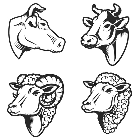 Set of cow and sheep heads on white background. Design element for logo, label, emblem, sign. Vector image