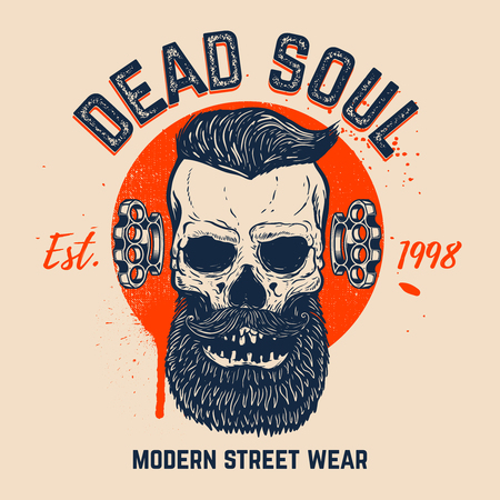 Dead soul. Bearded skull on grunge background. Design element for t shirt, poster, card, banner. Vector image Illustration