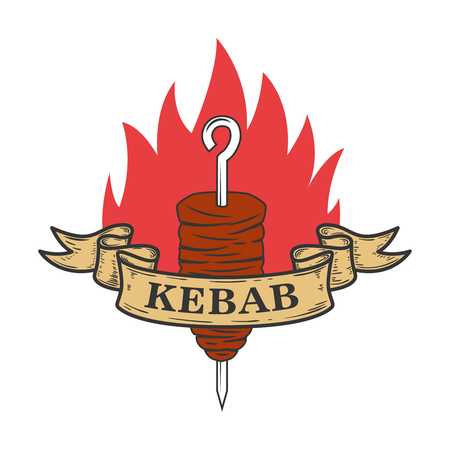 Kebab emblem template. Fast food. Design element for logo, label, emblem, sign. Vector illustration