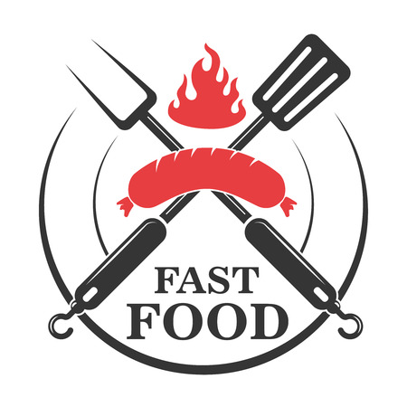 Fast food cafe emblem template. Crossed fork and kitchen spatula with sausage. Design element for logo, label, emblem, sign. Vector illustration