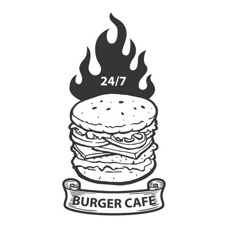 Burger cafe emblem template. Hamburger illustration with fire. Design element for logo, label, emblem, sign. Vector image
