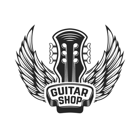 Guitar shop. Guitar head with wings. Rock and roll. Design element for logo, label, emblem, sign. Vector illustration Vettoriali