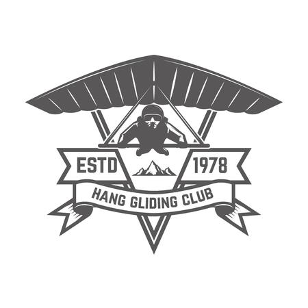 Hang gliding club emblem template. Design element for logo, label, emblem, sign. Vector illustration Banque d'images - 100365812