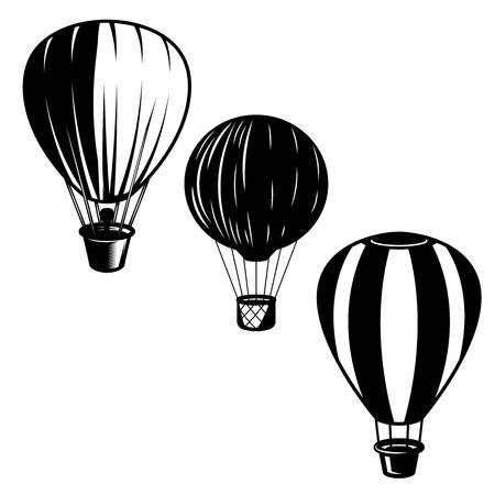 Set of illustrations of air balloons. Design element for icon, label, emblem, sign. Illustration