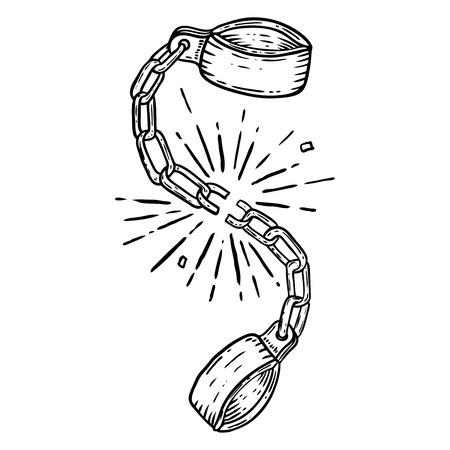 Ilustración de grilletes rotos sobre fondo blanco. Elemento de diseño de cartel, tarjeta, camiseta.