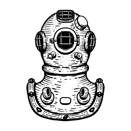 Hand drawn retro style diver helmet illustration on white background. Design elements for icon, label, emblem, sign, badge.  イラスト・ベクター素材