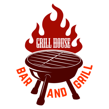 Grill house. Bbq illustration with fire. Design element for icon, label, emblem, sign.