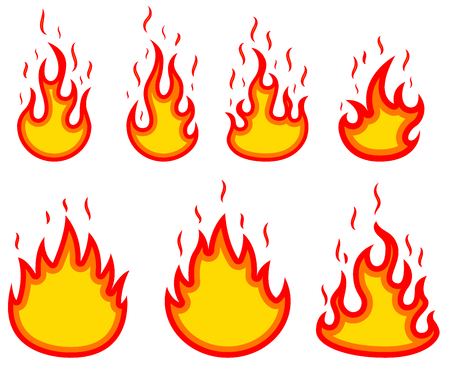 Set of fire illustrations on white background. Design elements for poster, emblem, sign, badge.