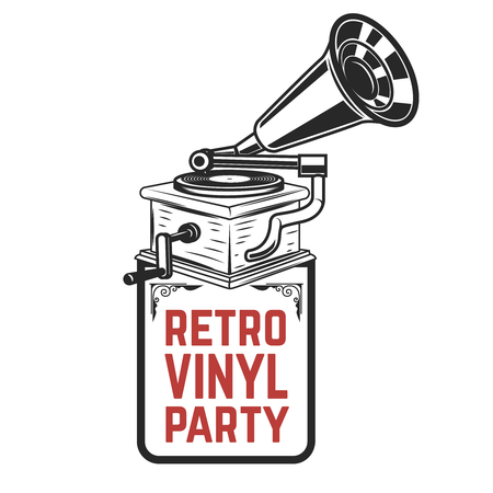 Retro vinyl party. Vintage style gramophone. Design element for icon, label, emblem, sign, badge.