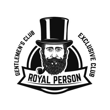 Smokers club. Gentleman head with smoking pipe. Design element for icon, label, emblem, sign, badge.